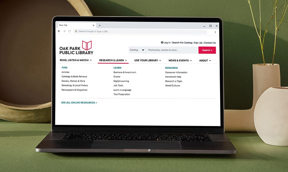 Library website on laptop