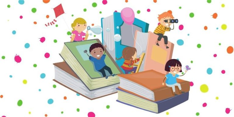 Kids playing on books