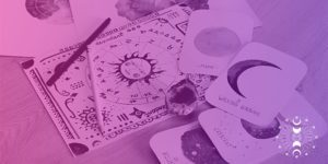 Birth chart with cards featuring different phases of the moon and zodiac signs