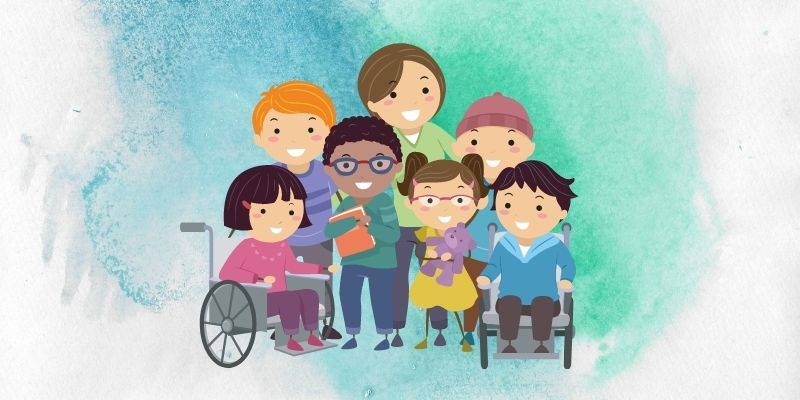 Cartoon graphic of children of a group of children