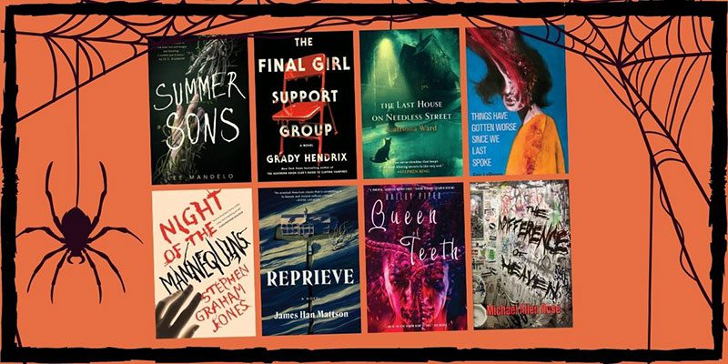 A spider hanging from a web splashed across book covers on an orange background