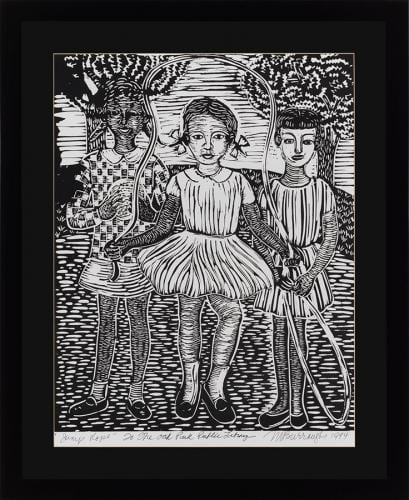 <em>Jump Rope</em> by Margaret Burroughs, linocut