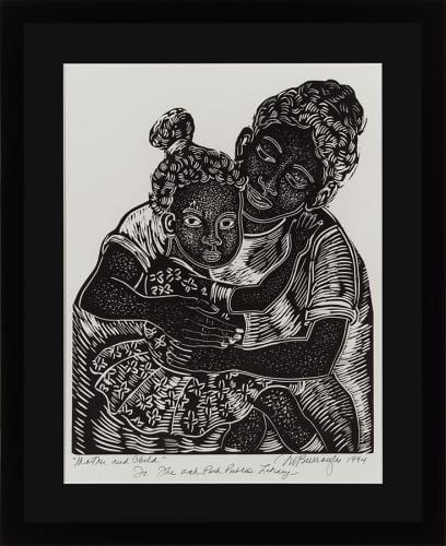 Mother and Child by Margaret Burroughs, linocut