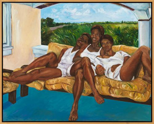 <em>Bajan Queens</em>  by Nancy Fong, oil on canvas