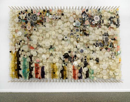 <em>skip skitter start trip vault bounce - and other attempts at flight</em> by Jacob Hashimoto, wood, paper acrylic, and nylon