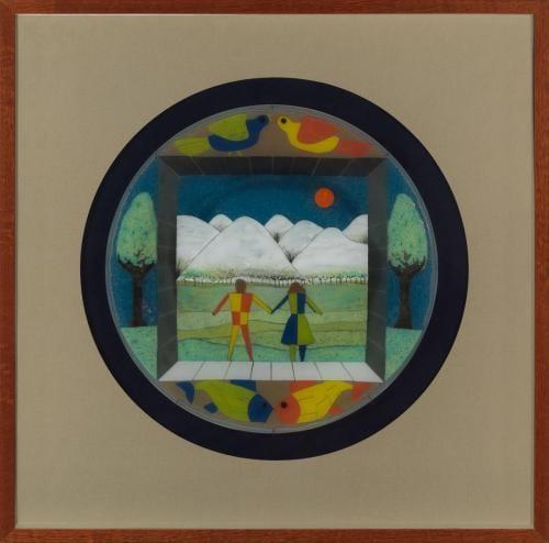 <em>Fish Gotta Swim, Birds Gotta Fly</em> by Frances and Michael Higgins, pieced and drawn fused glass