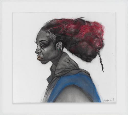 <em>Rennie in Rhapsody</em> by Jesse Howard, charcoal and acrylic on paper