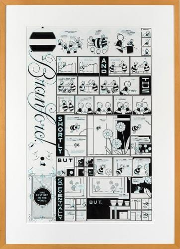 <em>Branford Bee Episode #2</em> by Chris Ware, ink and blue pencil on illustration board