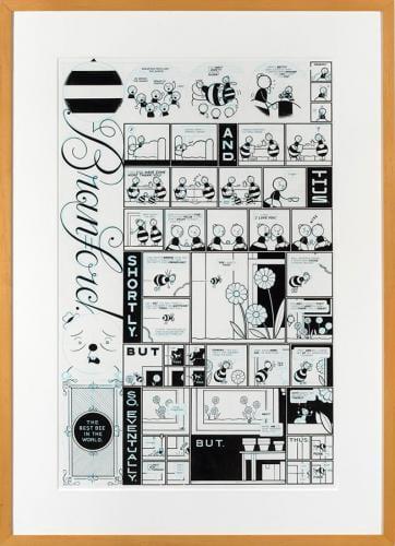 <em>Branford Bee Episode #2</em> by Chris Ware, ink and blue pencil on illustration board