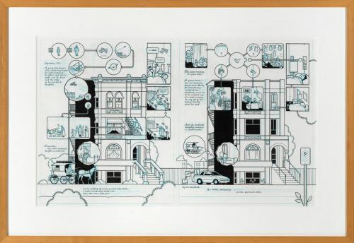 <em>Building Stories: 1923-2003</em> by Chris Ware, ink and blue pencil on illustration board