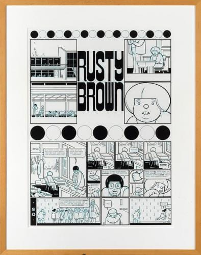 <em>Rusty Brown: Where Will We Be in 2003</em> by Chris Ware, ink and blue pencil on illustration board